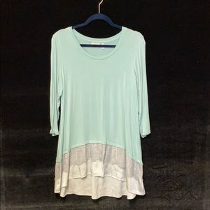 LOGO Mint Green Tunic Top With Satin & Lace Trim
